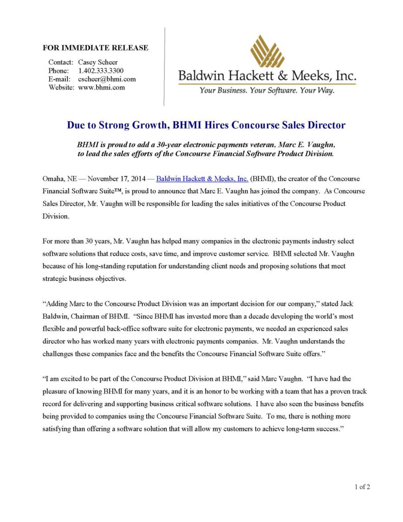 press releases Press Releases BHMI 2014 BHMI Hires Concourse Sales Director Page 1 791x1024