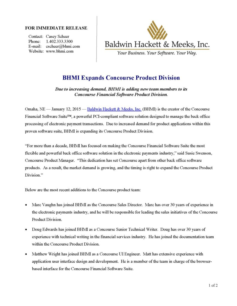 press releases Press Releases BHMI 2015 BHMI Expands Concourse Product Division Page 1 791x1024