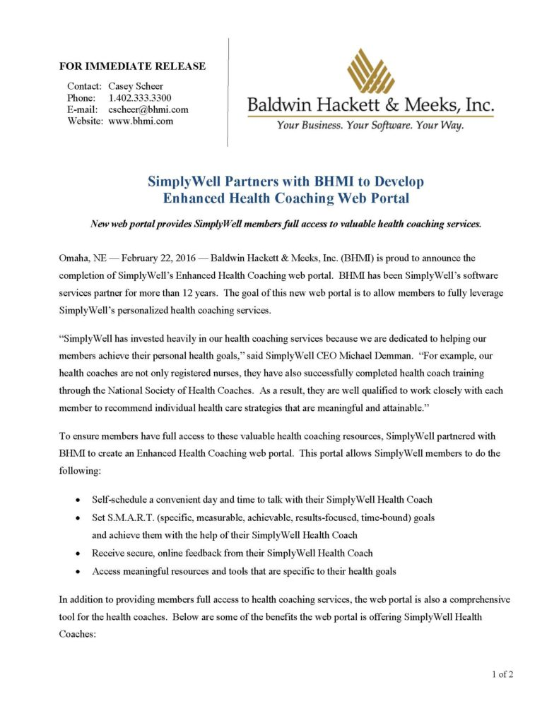 press releases Press Releases BHMI 2016 SimplyWell Enhanced Health Coaching Solution Page 1 791x1024